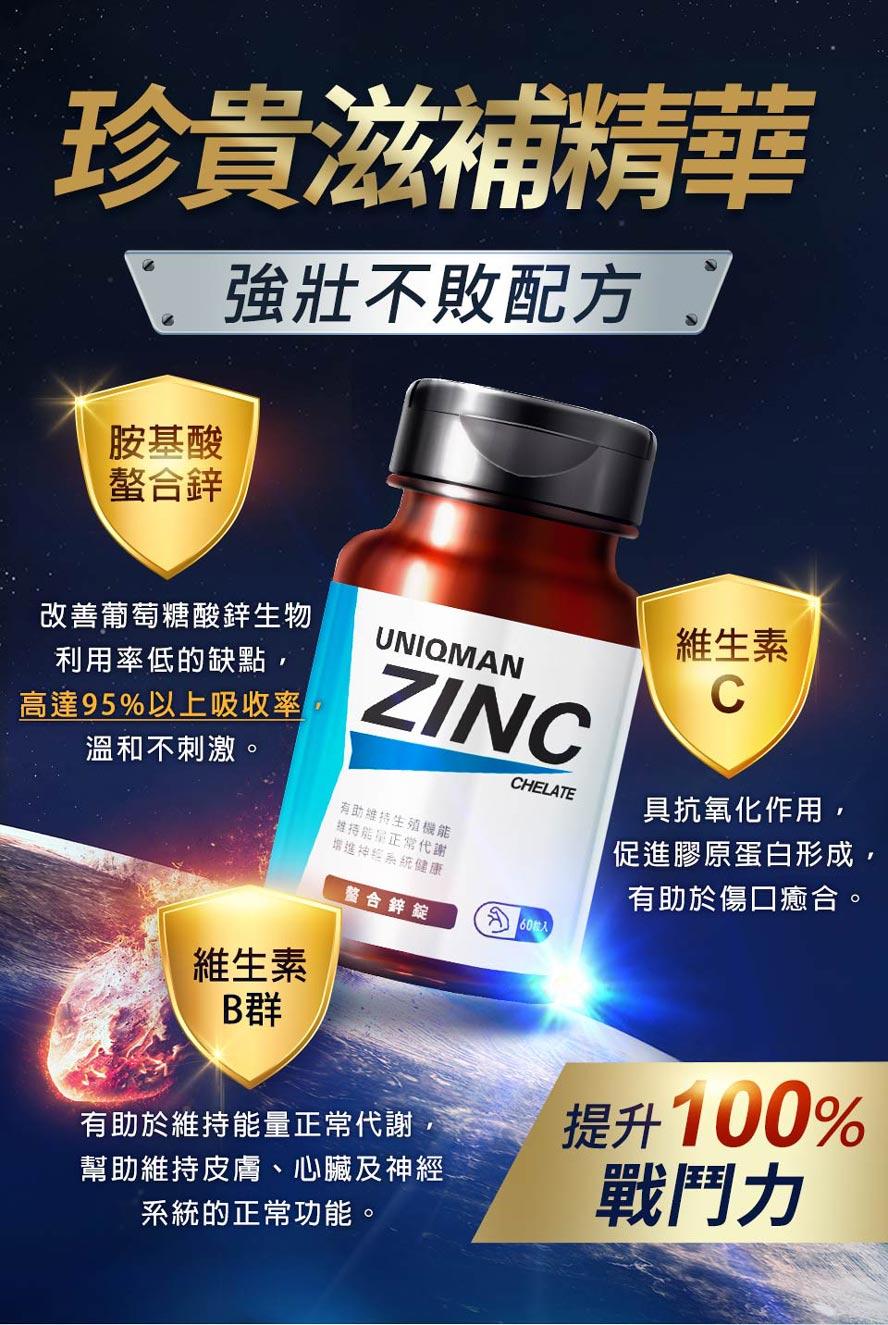 使用胺基酸螯合鋅,添加維生素C與維生素B,提高男性活力