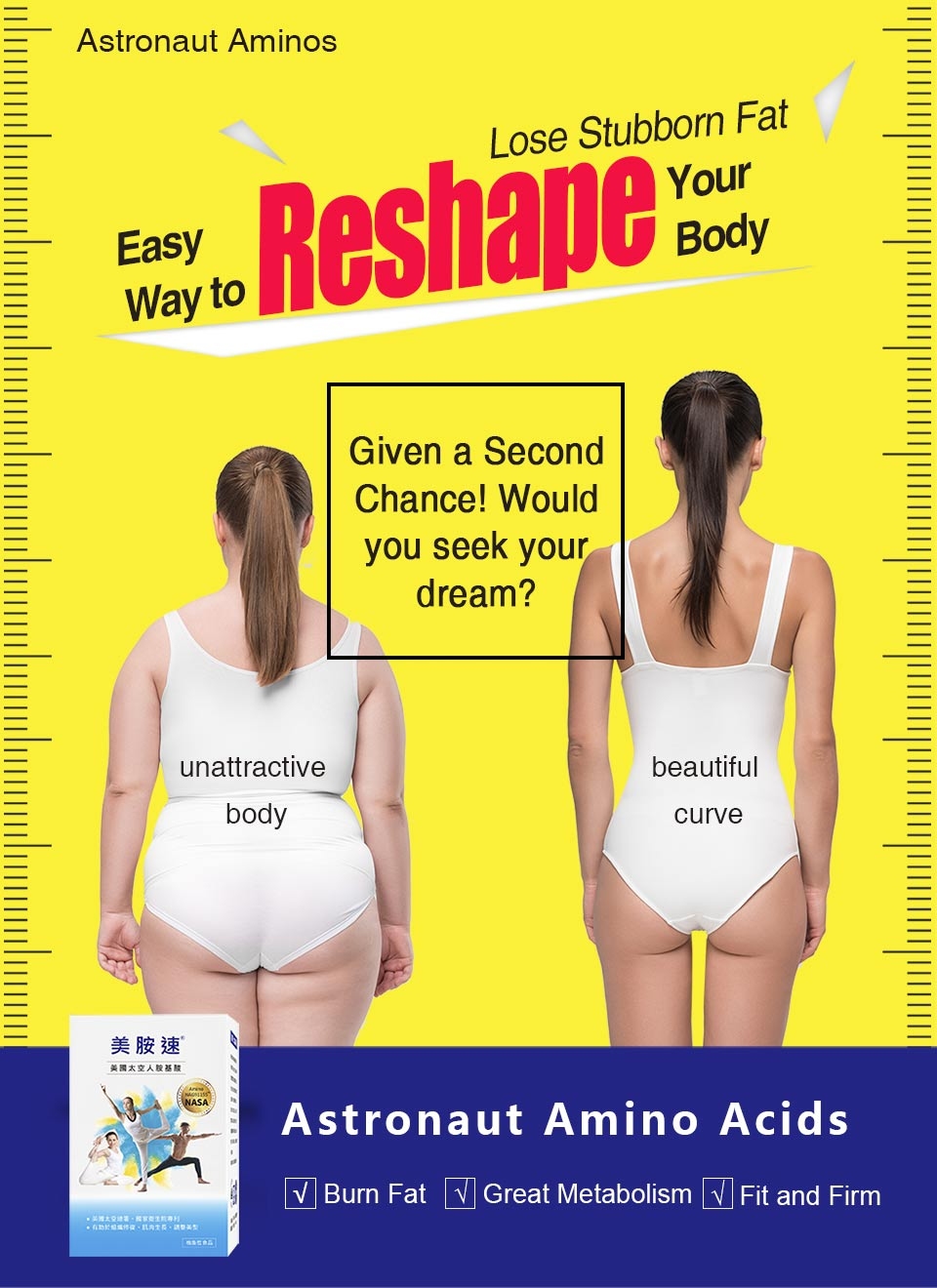 美胺速美國太空人胺基酸打擊頑固脂肪幫助代謝
