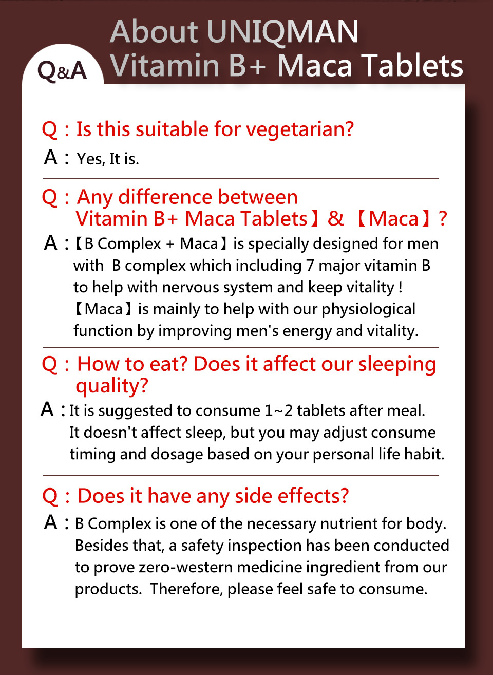 UNIQMAN Vitamin B contains more than 95% of black Maca