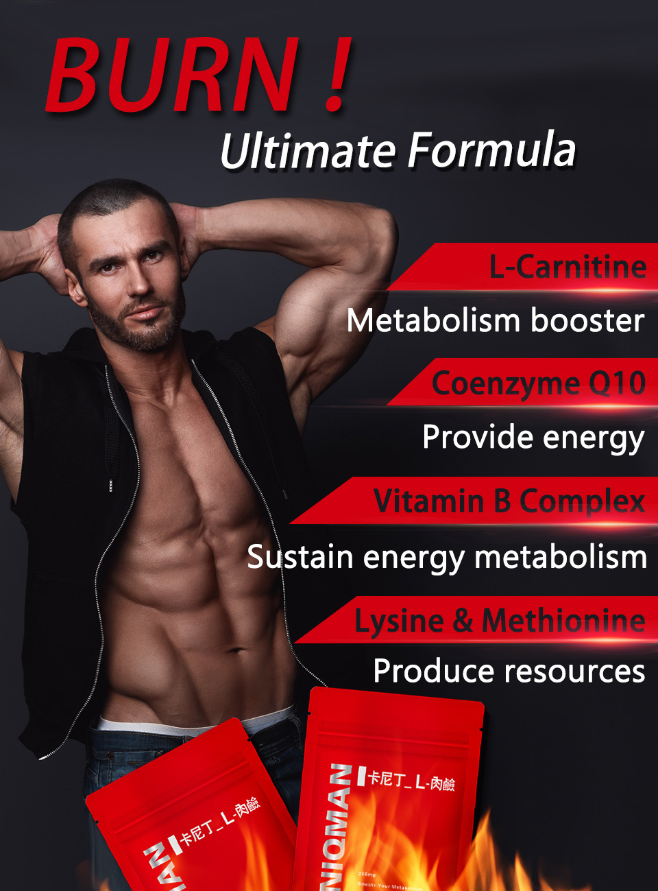 UNIQMAN L-carnitine provides energy and burns fat in our body