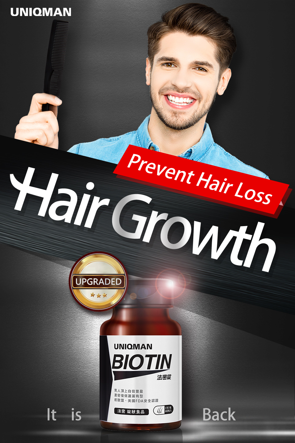 UNIQMAN Biotin contains white cynanchum that makes you look younger
