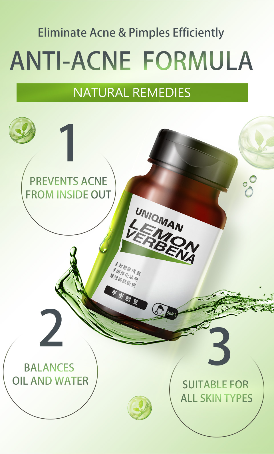UNIQMAN LemonVerbena helps remove pimples and ache