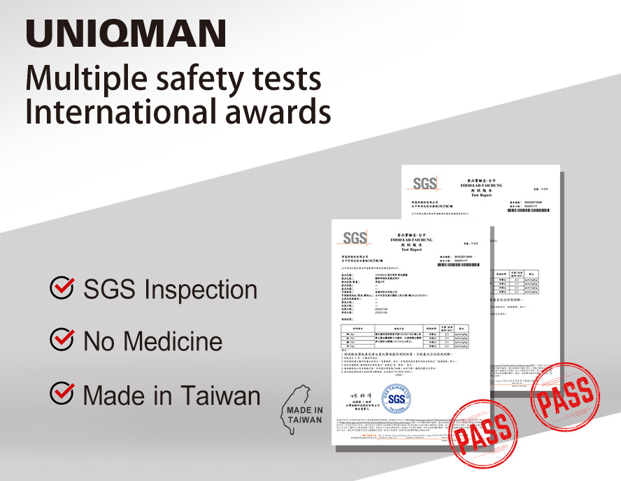 UNIQMAN safety tests and awards, SGS inspection, tentamus inspection, made in taiwan