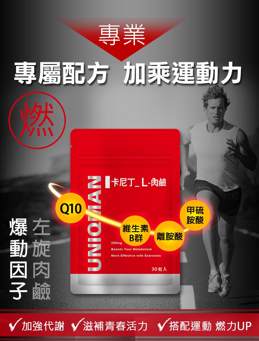 運動前補充UNIQMAN L-肉鹼能速體內脂肪代謝,達到減肥效果
