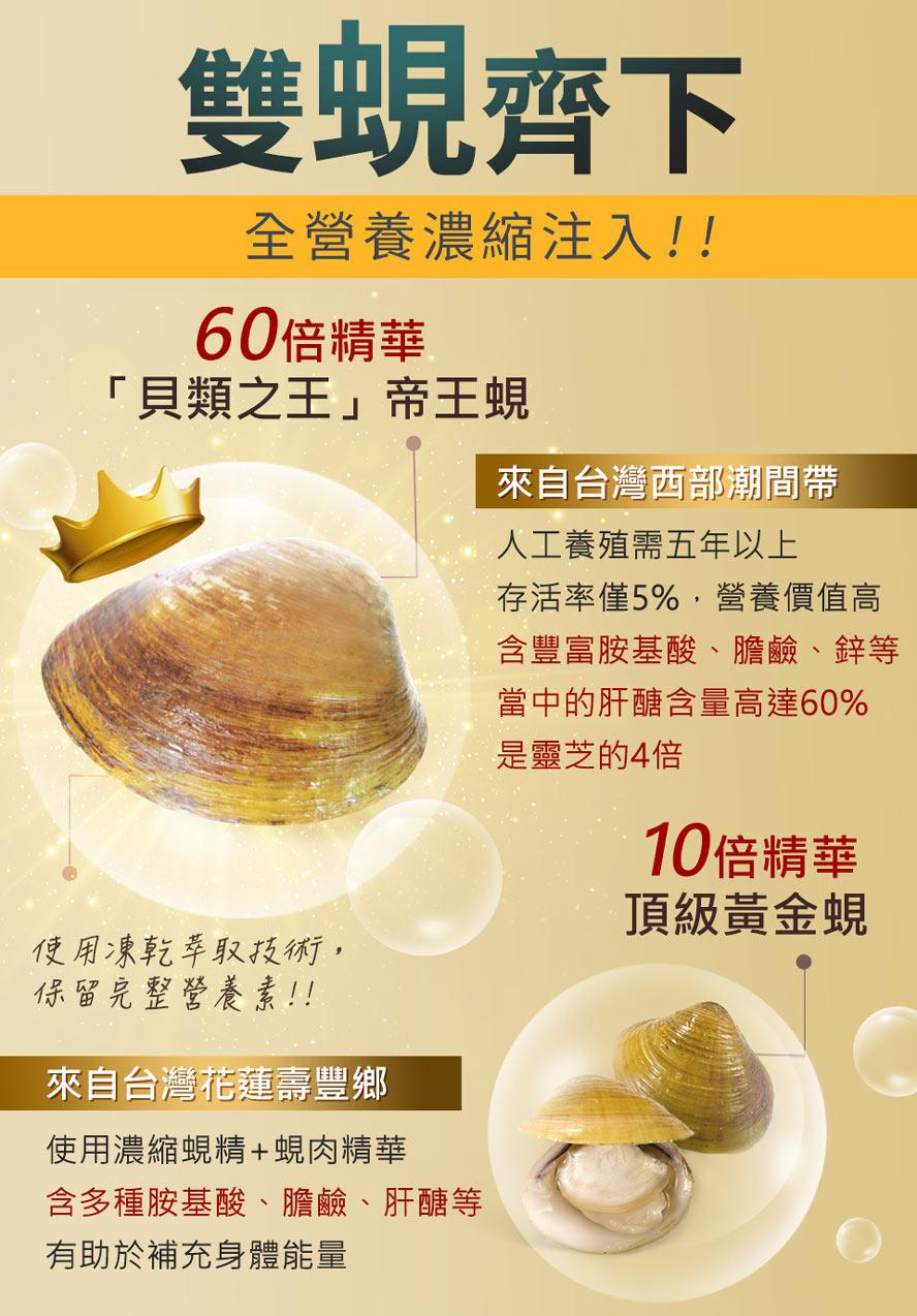 帝王蜆是瑩價值最高的蜆,一顆相當於25顆黃金蜆,是完美蛋白