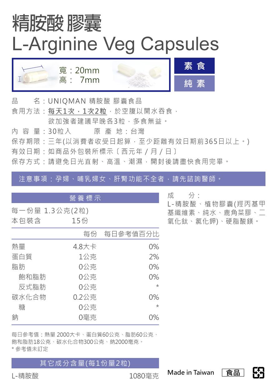 UNIQMAN精胺酸成分及含量通過安全認證