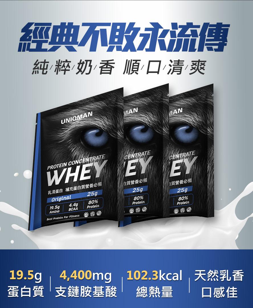 UNIQMAN原味乳清,含19.5克蛋白質、4.4克BCAA,純粹奶香,喝起來順口清爽