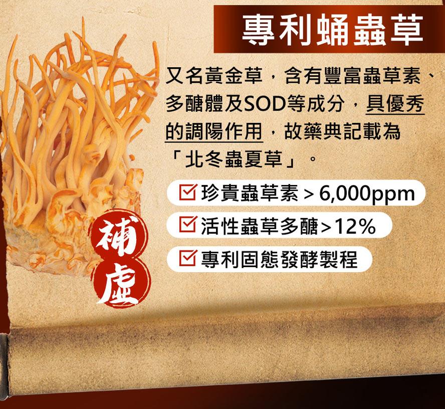 搭配專利蛹蟲草,又稱黃金草,常被用於腎臟保健、促進代謝