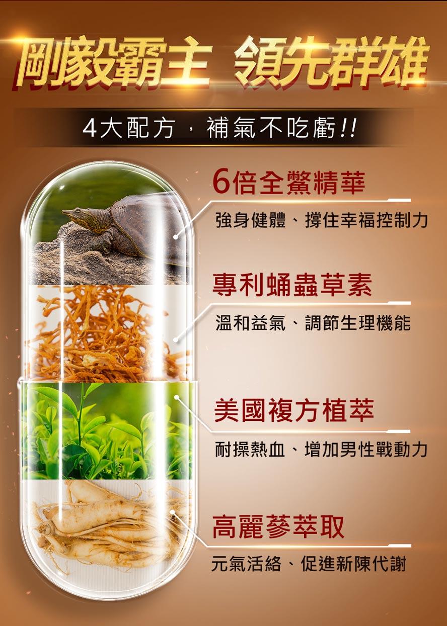 漢方極品補腎,加上美國複方植萃、高麗蔘萃取,滋補元氣,刺激一氧化氮生成