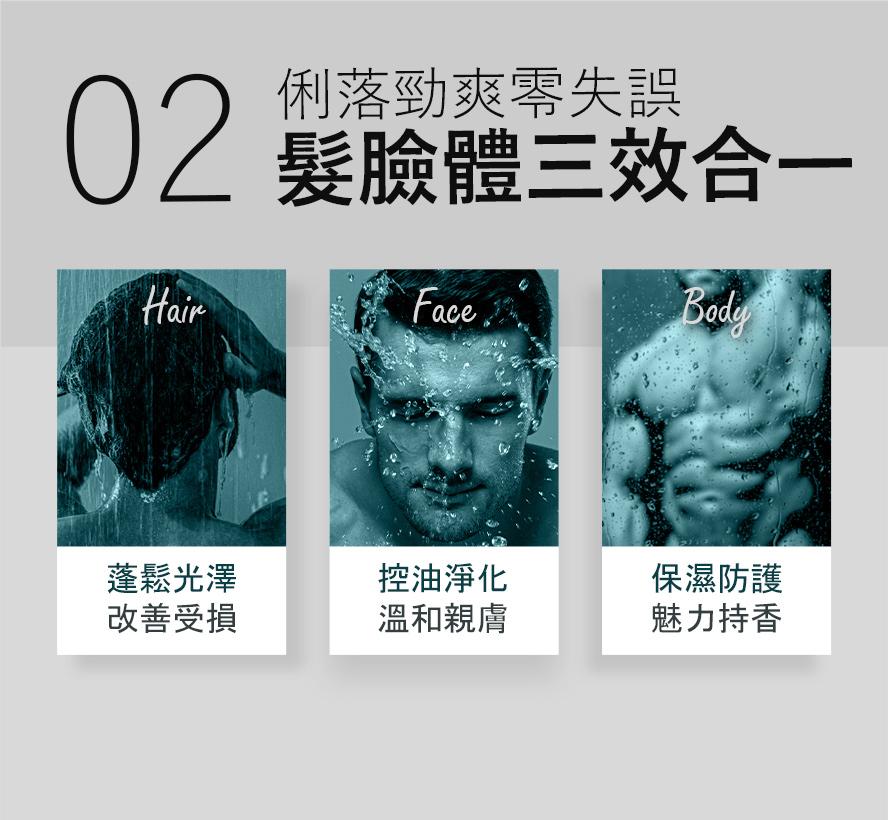 型男沐浴三效合一,促進頭髮蓬鬆,調控臉部油脂,維持身體保濕度。