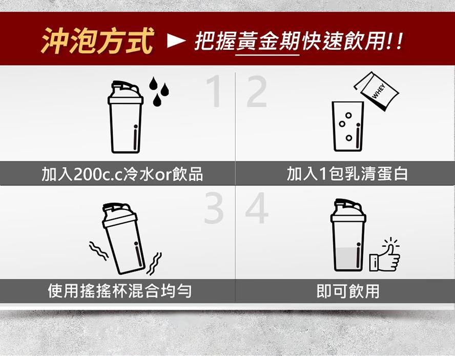 把握訓練黃金期,將乳清加入200c.c.的水,搖散均勻即可馬上飲用