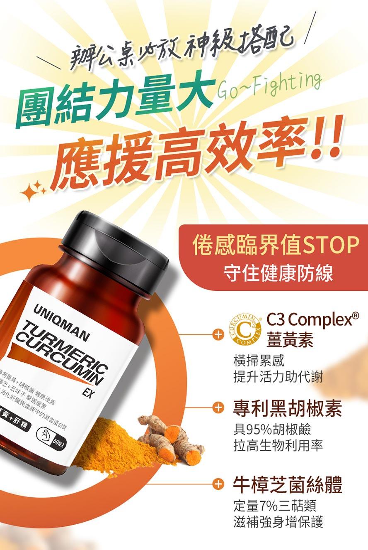 95%薑黃素、專利黑胡椒素、維生素K,護肝補元氣,加班也不累