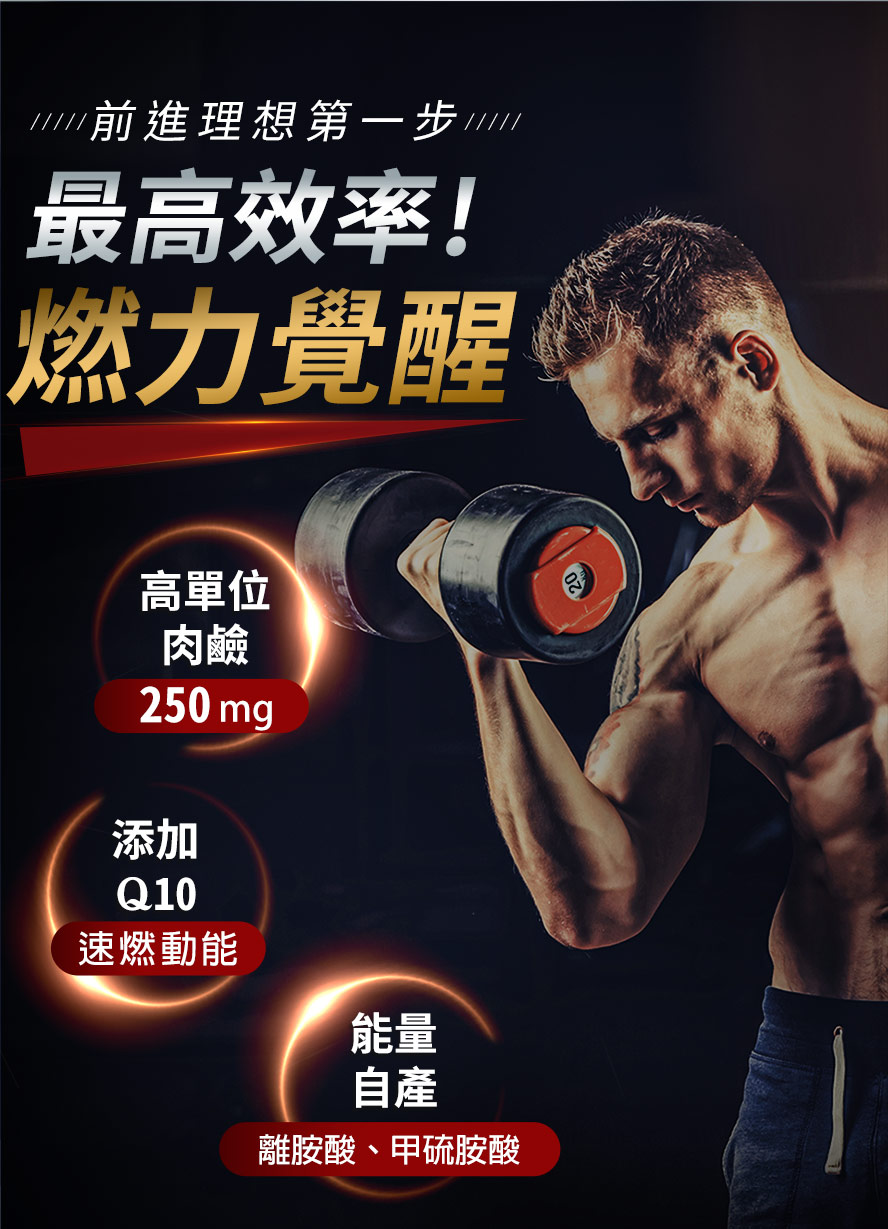 使用卡尼丁肉鹼搭配適度的運動,能夠減少脂肪量,練成精壯身材,也能突破減重的停滯期
