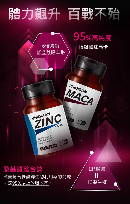 95%高純度黑紅瑪卡,吸收率最高的螯合鋅,讓你戰力滿滿
