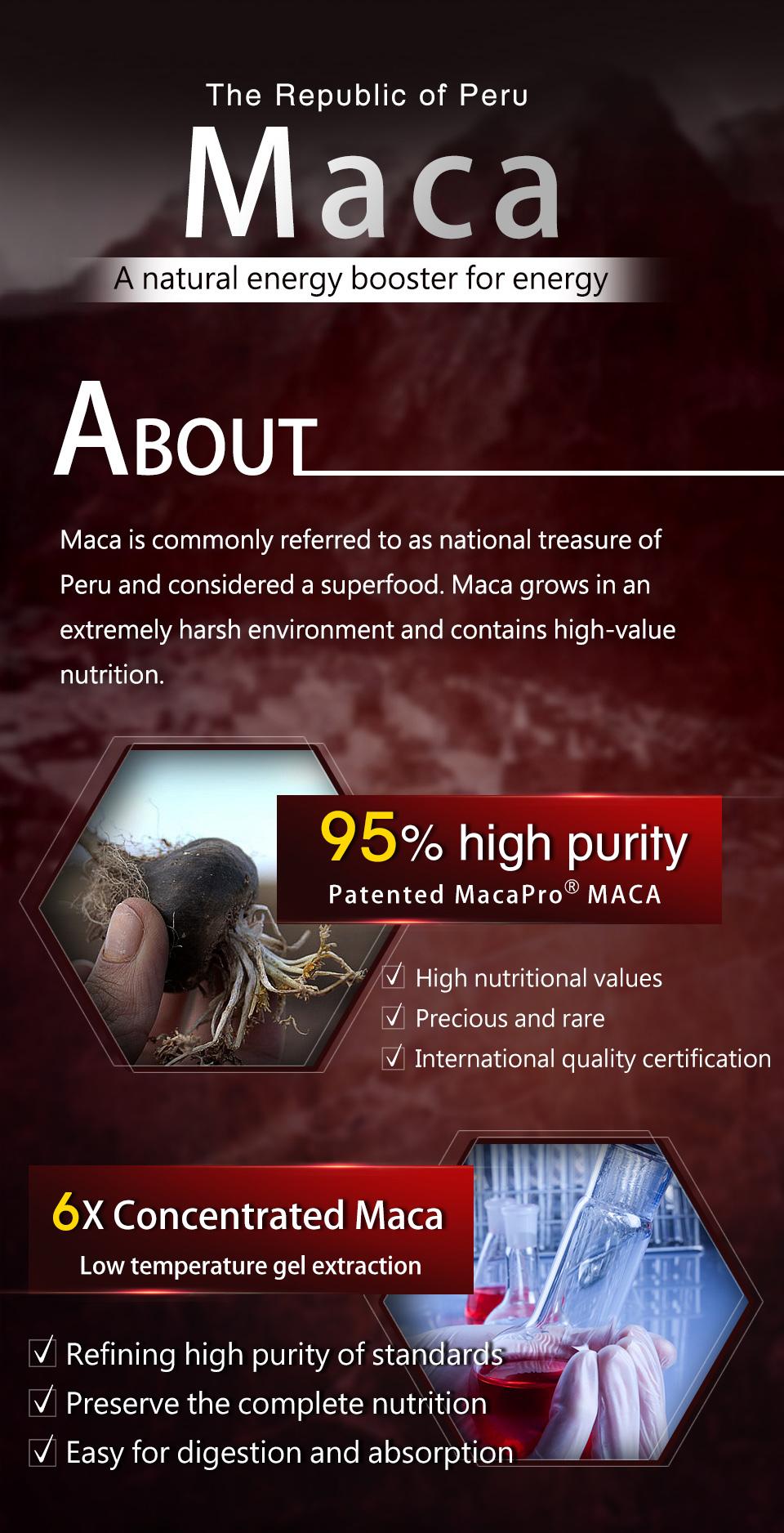 UNIQMAN採用95%吸收率的頂級黑紅馬卡,6倍濃縮萃取