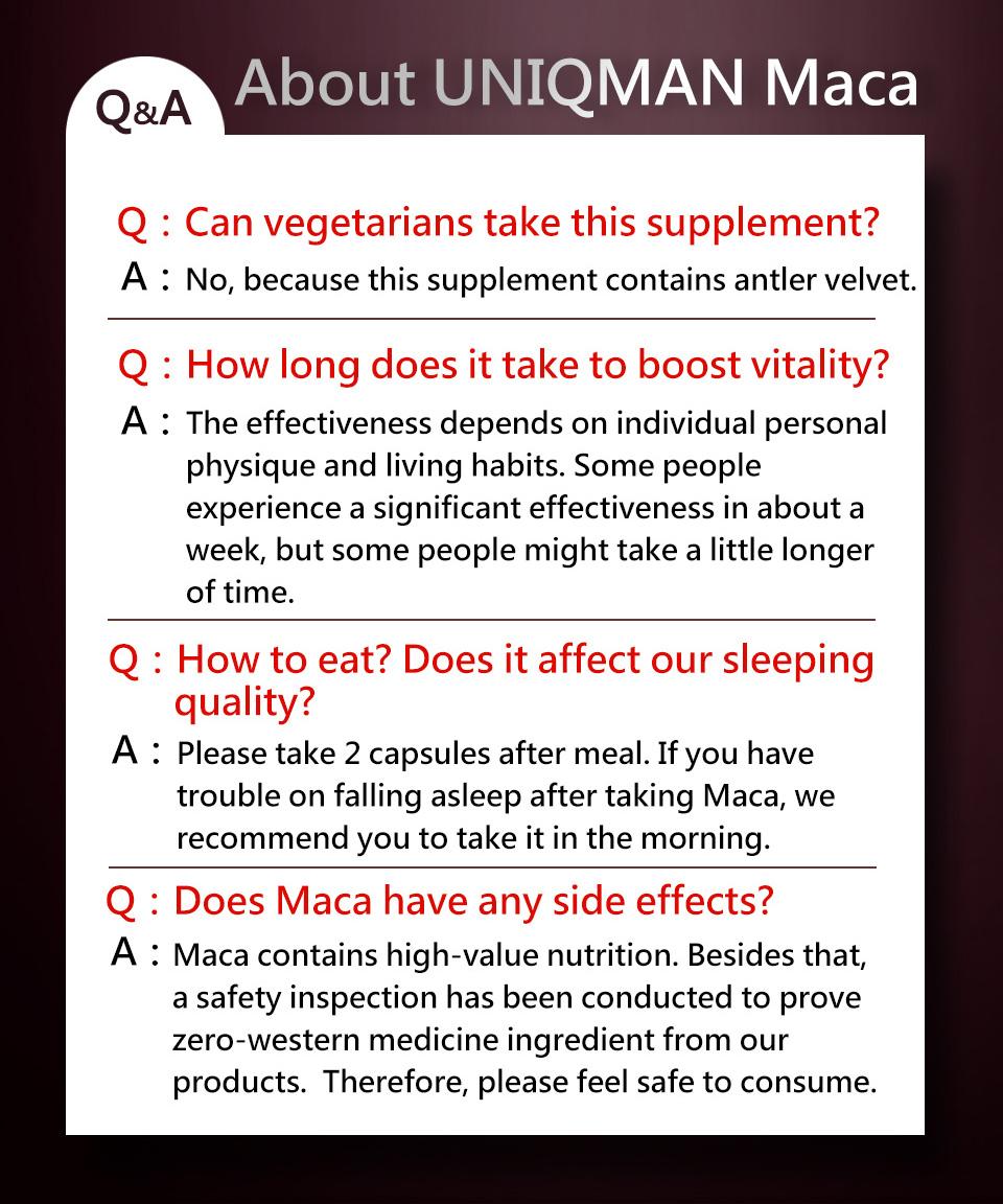 UNIQMAN馬卡是天然保健食品,所有人都可安心食用,沒有副作用