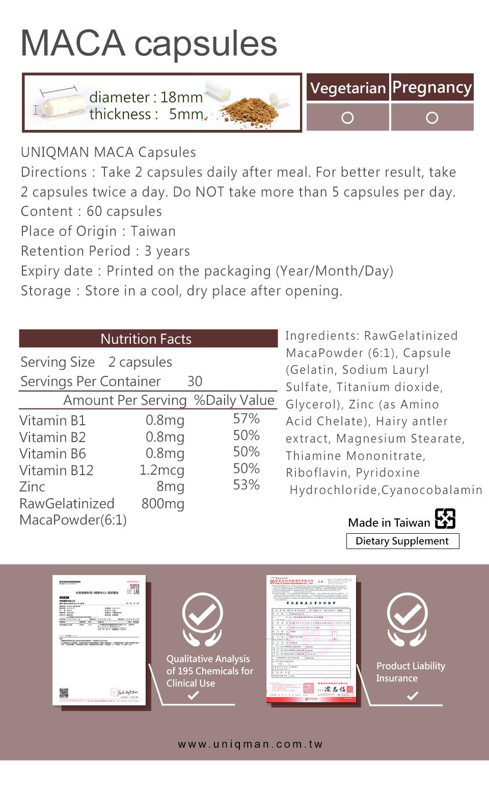說明UNIQMAN瑪卡的成分及含量,是保健食品的第一選擇